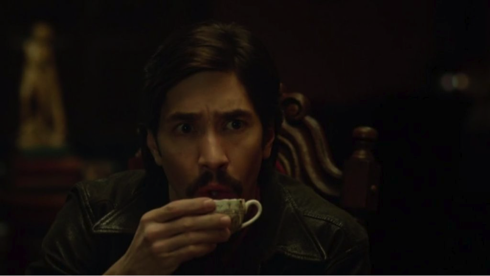Wallace Bryton (Justin Long) makes a costly beverage mistake (Tusk, A24 Films)