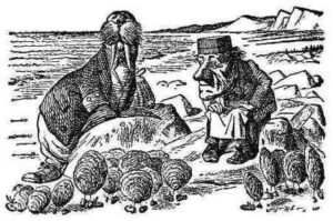 """The original walrus and carpenter (John Tenniel's illustration from """"The Walrus and the Carpenter,"""" from Lewis Carroll's Through the Looking-Glass)"""